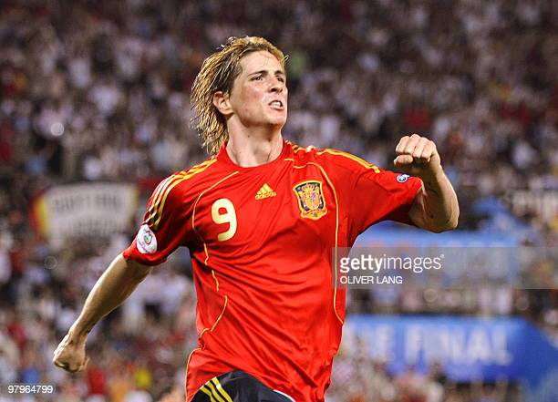Spanish forward Fernando Torres celebrates after scoring the opening goal during the Euro 2008 championships final football match Germany vs Spain on...
