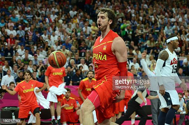 Spanish forward Pau Gasol reacts during the London 2012 Olympic Games men's gold medal basketball game between USA and Spain at the North Greenwich...