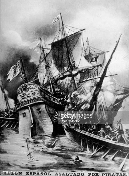 Spanish Galleon assaulted by pirates and corsaries Not only merchant vessels but galleons and other warships if they were left behind or were moving...