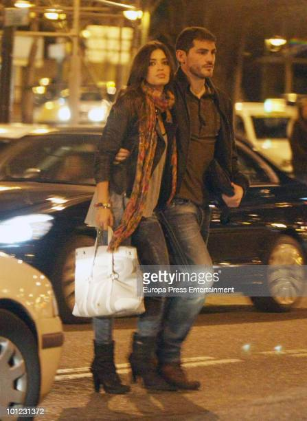 Spanish goalkeeper Iker Casillas and his girlfriend journalist Sara Carbonero are seen sighting on May 27 2010 in Madrid Spain
