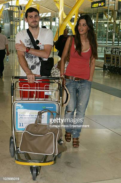 Spanish goalkeeper Iker Casillas and his girlfriend Spanish sport journalist Sara Carbonero are seen sighting at Barajas Airport on July 19 2010 in...