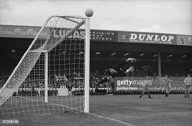 Spanish goalkeeper Jose Iribar makes a save from an Argentinian corner kick at Villa Park during the 1966 World Cup in England 13th July 1966
