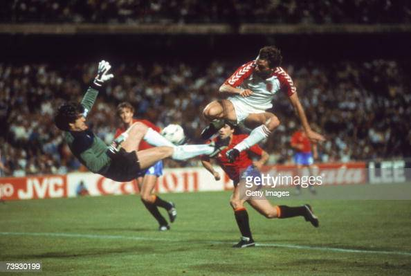 Spanish goalkeeper Luis Arconada foils a Spanish attack with a spectacular save during a semifinal of the UEFA European Football Championship at the...