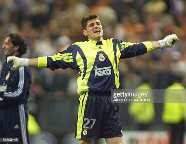 Spanish goalkeeper of Real Madrid Iker Casillas jubilates 24 May 2000 following his team's victory in the Champion's League final against Valencia...