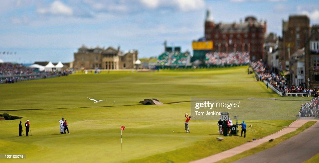 Spanish golfer <a gi-track='captionPersonalityLinkClicked' href=/galleries/search?phrase=Alvaro+Quiros&family=editorial&specificpeople=776409 ng-click='$event.stopPropagation()'>Alvaro Quiros</a> tees off at the 18th hole in the final round of the 2010 British Open Golf Championship at the Royal and Ancient Golf Club on July 18th 2010 in St Andrews, Scotland (Photo by Tom Jenkins/Getty Images). An image from the book 'In The Moment' published June 2012