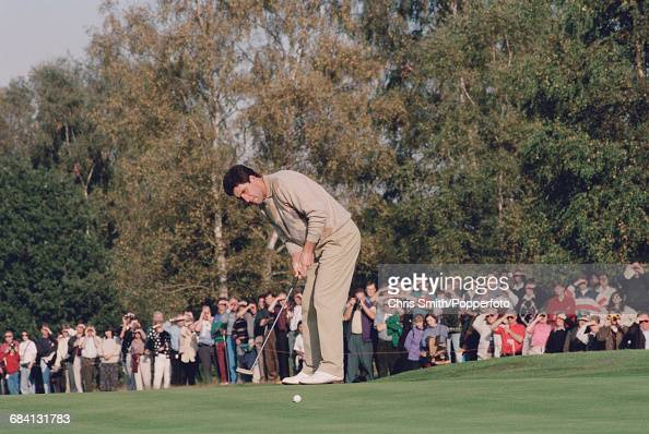 Spanish golfer Jose Maria Olazabal pictured in action during competition in the 1994 Toyota World Match Play Championship at Wentworth Golf Club near...