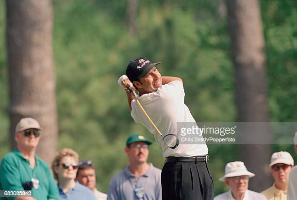 Spanish golfer Jose Maria Olazabal pictured in action during competition to finish in joint 7th place in the 1993 Masters Tournament at Augusta...