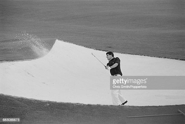 Spanish golfer Jose Maria Olazabal pictured in action playing a shot out of a sand trap hazard during competition to finish in 2nd place in the 1991...