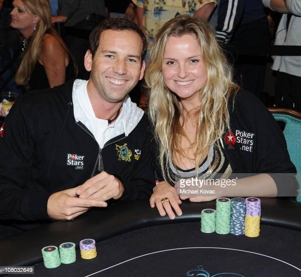 Spanish golfer Sergio Garcia and Team PokerStars Pro Fatima Moreira De Melo play poker at the 2011 PokerStars Caribbean Adventure at Atlantis...