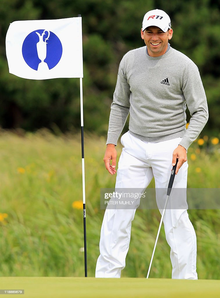 Spanish golfer Sergio Garcia is pictured on the 14th green during practice for the 140th British Open Golf championship at Royal St George's in Sandwich, Kent, south east England, on July 12, 2011.