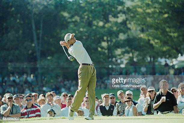 Spanish golfer Sergio Garcia pictured in action driving off from a tee for Team Europe during play to lose to Team USA in the 1999 Ryder Cup 145 135...