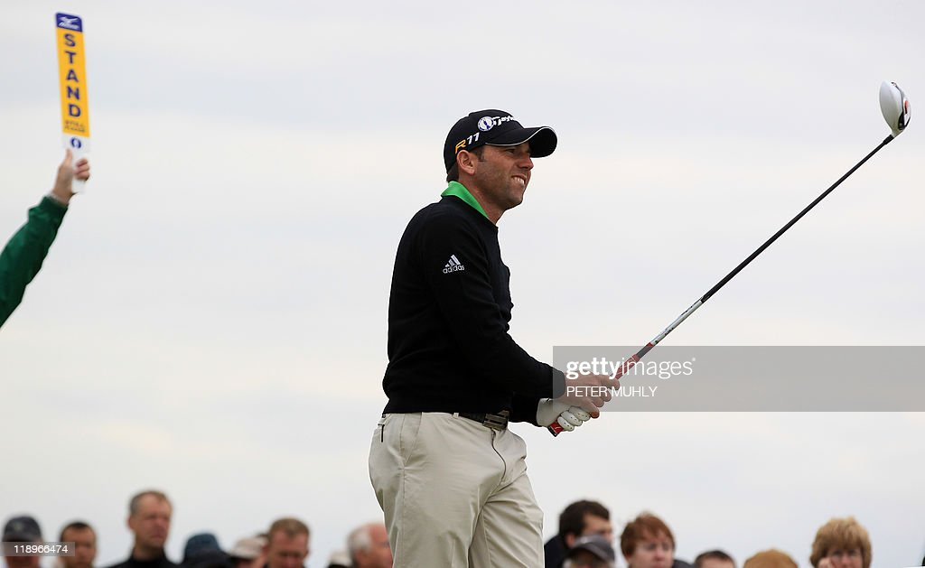 Spanish golfer Sergio Garcia tees off during the practice rounds ahead of the 140th British Open Golf championship at Royal St George's in Sandwich, Kent, south east England, on July 13, 2011.