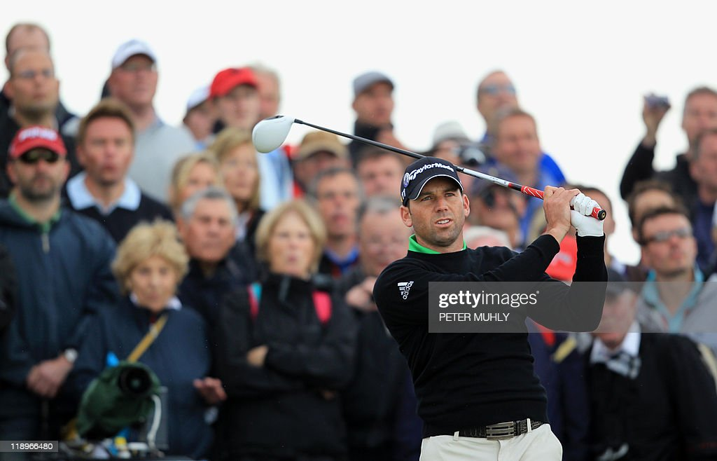 Spanish golfer Sergio Garcia tees off from the 4th Tee during the practice rounds ahead of the 140th British Open Golf championship at Royal St George's in Sandwich, Kent, south east England, on July 13, 2011.