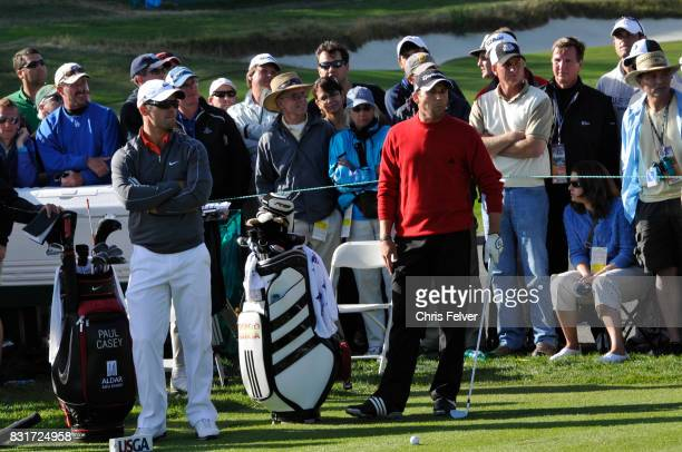 Spanish golfer Sergio Garcia waits to play during the 110th US Open golf championship Pebble Beach California June 17 2010