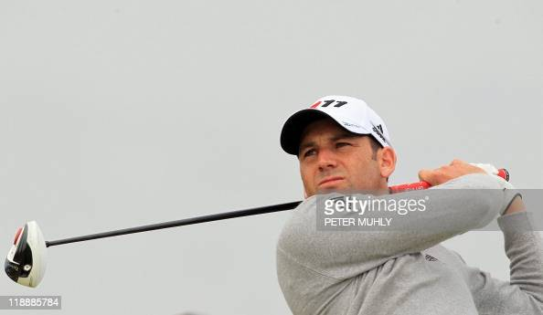 Spanish golfer Sergio Garcia watches his drive from the 15th Tee during practice for the 140th British Open Golf championship at Royal St George's in...