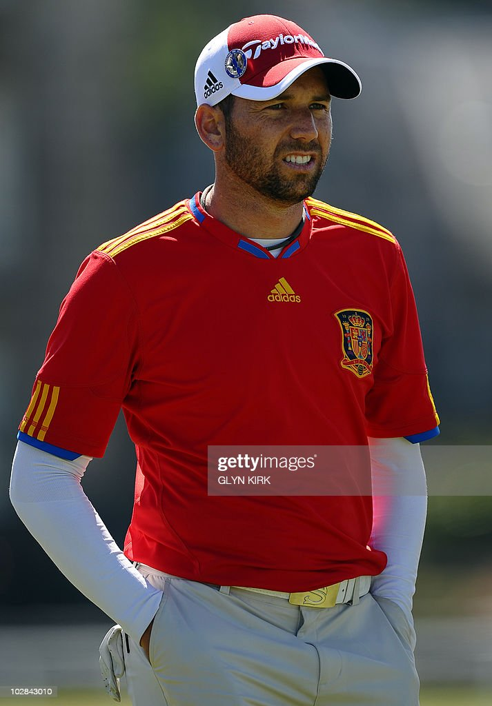 Spanish golfer Sergio Garcia wearing a Spanish football shirt during a practice round at St Andrews in Scotland on July 13 ahead of The 2010 Open...
