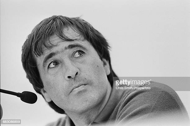 Spanish golfer Seve Ballesteros pictured at a press conference during the 1991 Open Championship at Royal Birkdale Golf Club in Southport England in...