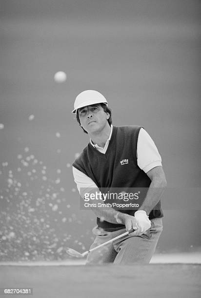 Spanish golfer Seve Ballesteros pictured in action competing in the Dunhill British Masters golf tournament at Woburn Golf and Country Club near...