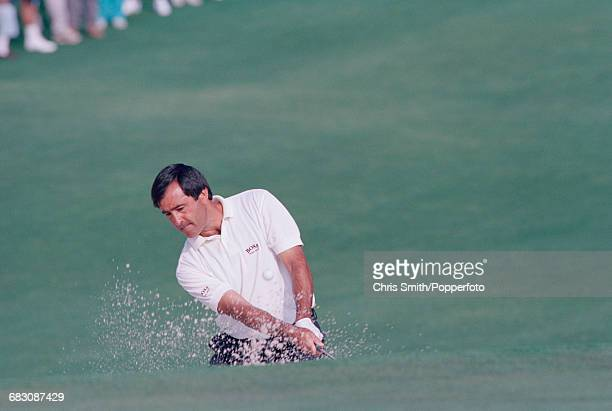 Spanish golfer Seve Ballesteros pictured in action during competition in the 1992 Masters Tournament at Augusta National Golf Club in Augusta Georgia...
