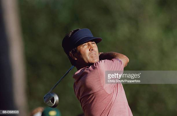 Spanish golfer Seve Ballesteros pictured in action during competition to miss the cut in the 1998 Masters Tournament at Augusta National Golf Club in...