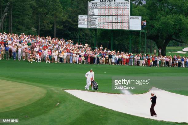Spanish golfer Severiano Ballesteros bunkered at the 18th in the third round of the Masters Tournament at Augusta National Golf Club Georgia USA...
