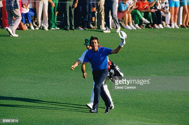Spanish golfer Severiano Ballesteros walking up the 18th green at the Masters Tournament at Augusta National Golf Club Georgia USA April 1986
