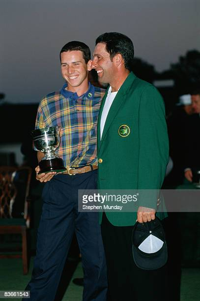 Spanish golfers Jose Maria Olazabal and Sergio Garcia at the Masters Tournament at Augusta National Golf Club Georgia USA April 1999 Olazabal won the...