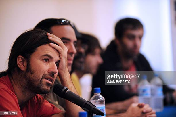 Spanish Grammy awarded group 'Jarabe de Palo' singer Pau Dones speaks during a press conference to launch their album 'Orquesta reciclando' in...