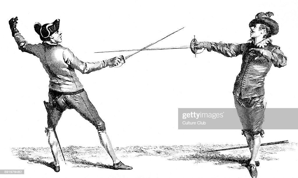 Spanish Guard attacked by French guard engraving from L'Ecole des Armes 1763 instruction book by Domenico Angelo He was an Italian fencing master...