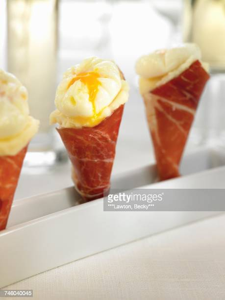 Spanish ham cones filled with mashed potatoes and quails egg