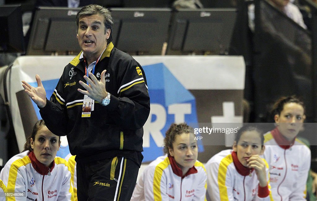 Spanish head coach Jorge Duenas reacts during the friendly women's handball match France vs Spain, on November 30, 2012 at the Palais des victoires sports hall, in Cannes, southeastern France.