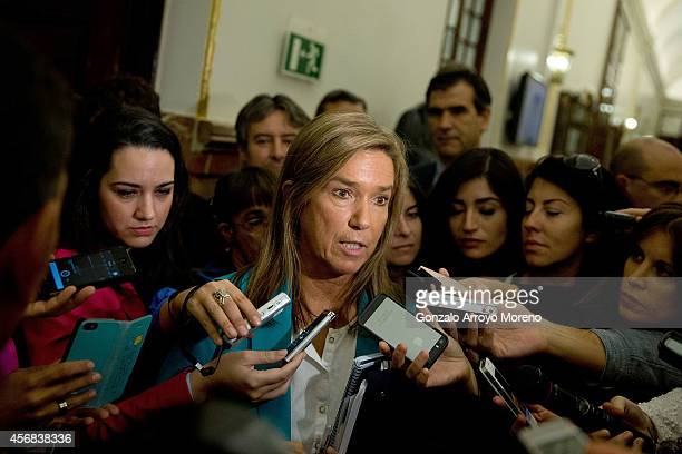 Spanish Health Minister Ana Mato answers questions from the media after attending a plenary session at the Spanish Parliament on October 8 2014 in...