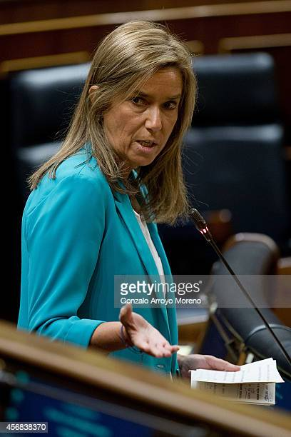Spanish Health Minister Ana Mato answers questions from the opposition parties during a plenary session at the Spanish Parliament on October 8 2014...