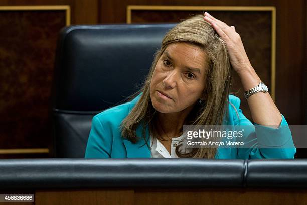 Spanish Health Minister Ana Mato attends the Spanish Parliament during a plenary session on October 8 2014 in Madrid Spain Spanish Health Minister...
