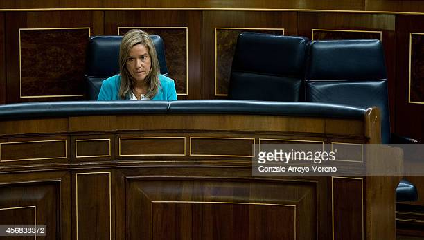 Spanish Health Minister Ana Mato attends the Spanish Parliament on October 8 2014 in Madrid Spain Spanish Health Minister Ana Mato confirmed on...