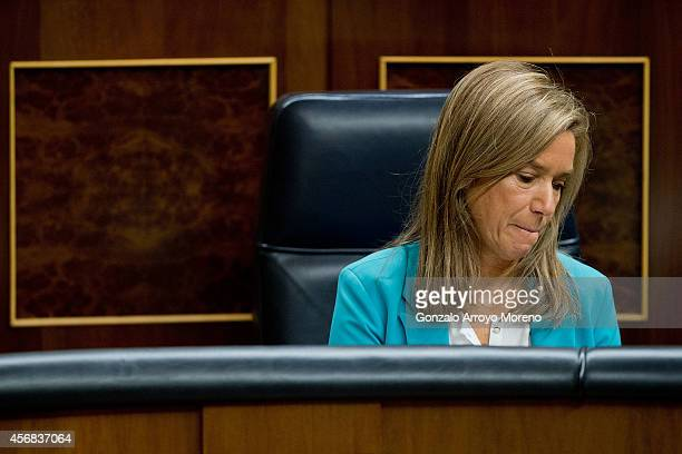 Spanish Health Minister Ana Mato bites her lips during a plenary session at the Spanish Parliament on October 8 2014 in Madrid Spain Spanish Health...