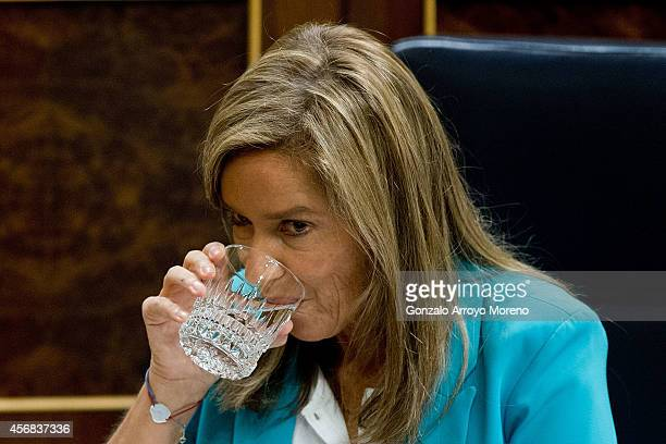 Spanish Health Minister Ana Mato drinks water during a plenary session at the Spanish Parliament on October 8 2014 in Madrid Spain Spanish Health...