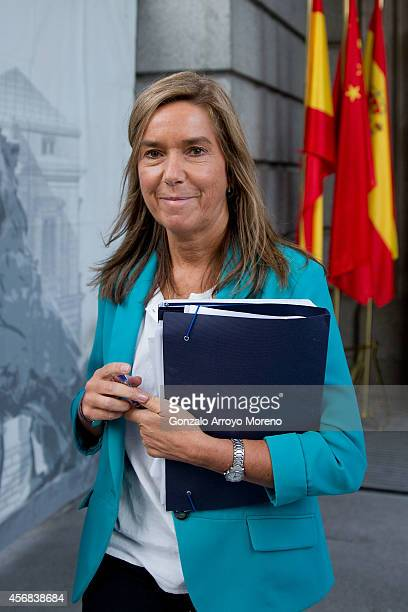 Spanish Health Minister Ana Mato leaves the Spanish Parliament after attending a plenary session on October 8 2014 in Madrid Spain Spanish Health...