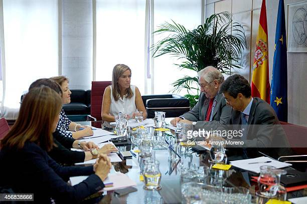 Spanish Health Minister Ana Mato presides a meeting of the Ebola Coordination Comission at the Health Ministry headquarters on October 8 2014 in...
