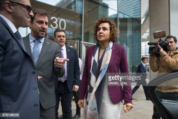 Spanish Health Secretary Dolors Montserrat accompanied by Minister of Health in the Catalan Government Antoni Comin leaves the offices of the...