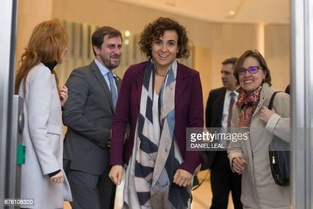 Spanish Health Secretary Dolors Montserrat and Minister of Health in the Catalan Government Antoni Comin leave the offices of the European Medicines...