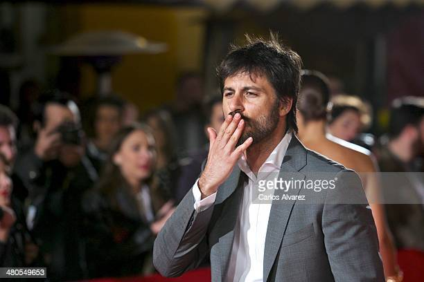 Spanish Hugo Silva attends the 'Dioses y Perros' premiere during the 17th Malaga Film Festival 2014 Day 5 at the Cervantes Theater on March 25 2014...