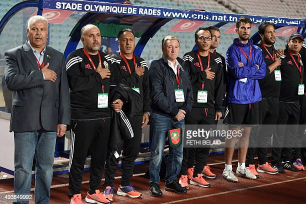 Spanish Javier Clemente the coach of the Libyan national soccer team looks on as the national anthem is being sung during the 2016 African Nations...