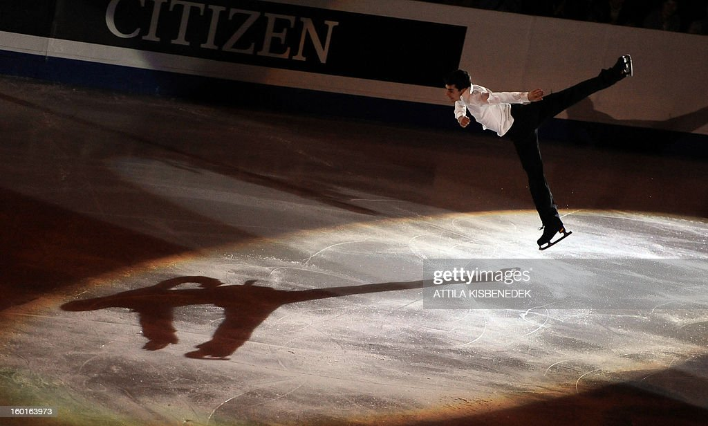 Spanish Javier Fernandez performs in the 'Dom Sportova' sports hall in Zagreb on January 27, 2013 during the gala of the ISU European Figure Skating Championships.