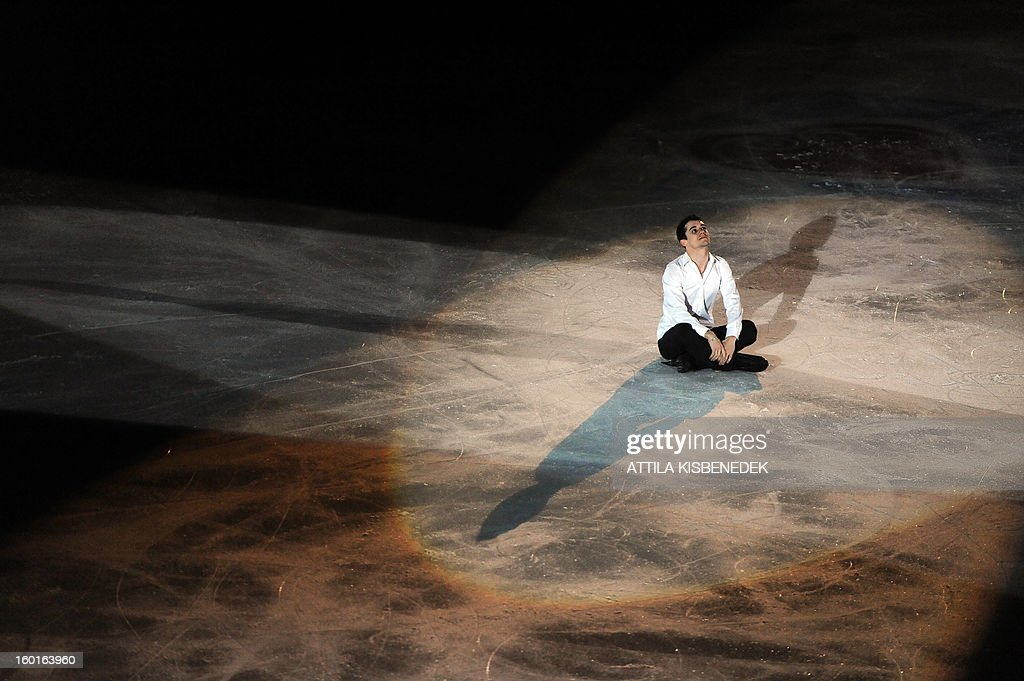 Spanish Javier Fernandez sits on ice at the Dom Sportova sports hall in Zagreb on January 27, 2013 during the gala of the ISU European Figure Skating Championships.