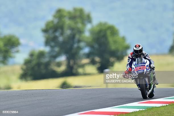 Spanish Jorge Lorenzo steers his Yamaha during the second Free Practice session ahead of the Italian motorcycling Grand Prix at the Mugello racetrack...