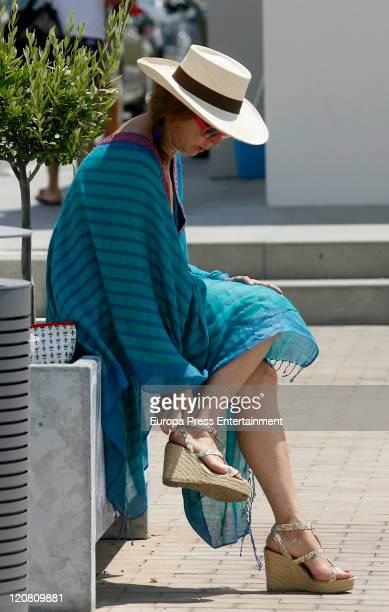 Spanish journalist Ana Rosa Quintana is seen sighting on August 10 2011 in Ibiza Spain