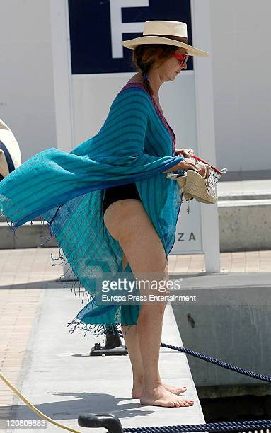 Spanish journalist Ana Rosa Quintana is seen sighting on August 10 2011 in Ibiza Spain