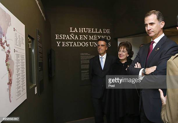 Spanish King Felipe VI attends the exhibition 'Bernardo de Galvez and the presence of Spain in Mexico and the United States' with Mexican ambassador...