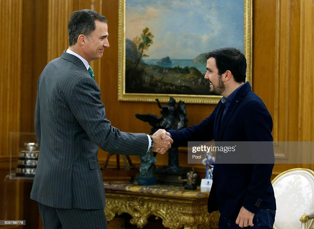 Spanish King Felipe VI meets with the leader of the United Left, Alberto Garzon, in the round of consultations with political parties held this week before proposing a candidate for Prime Minister at the Zarzuela Palace on January 20, 2016 in Madrid, Spain.